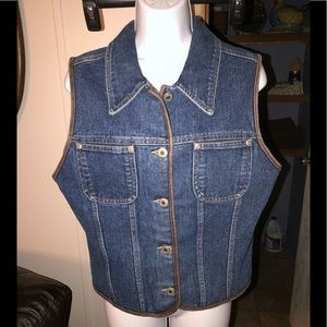 🎀 Liz Claiborne Women's Jean vest leather trim M